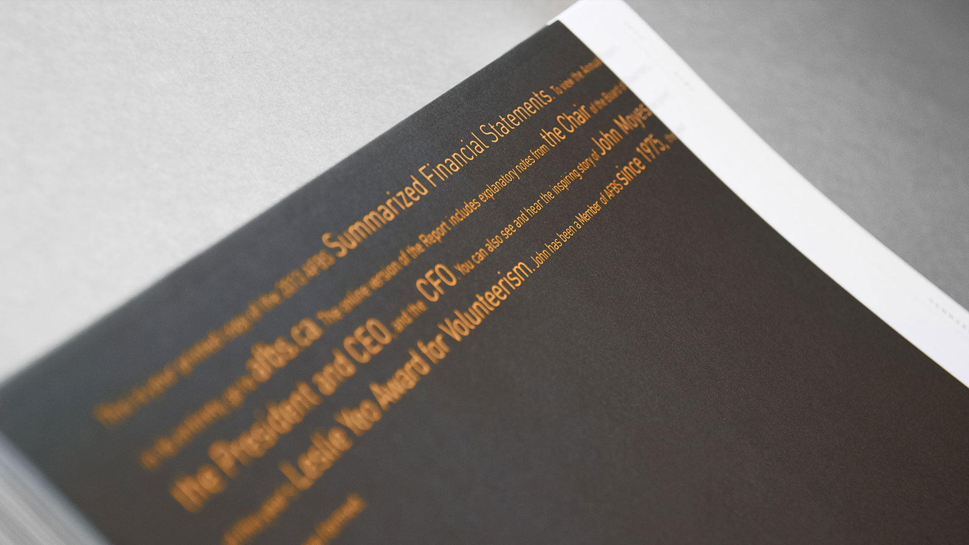financial booklet typography
