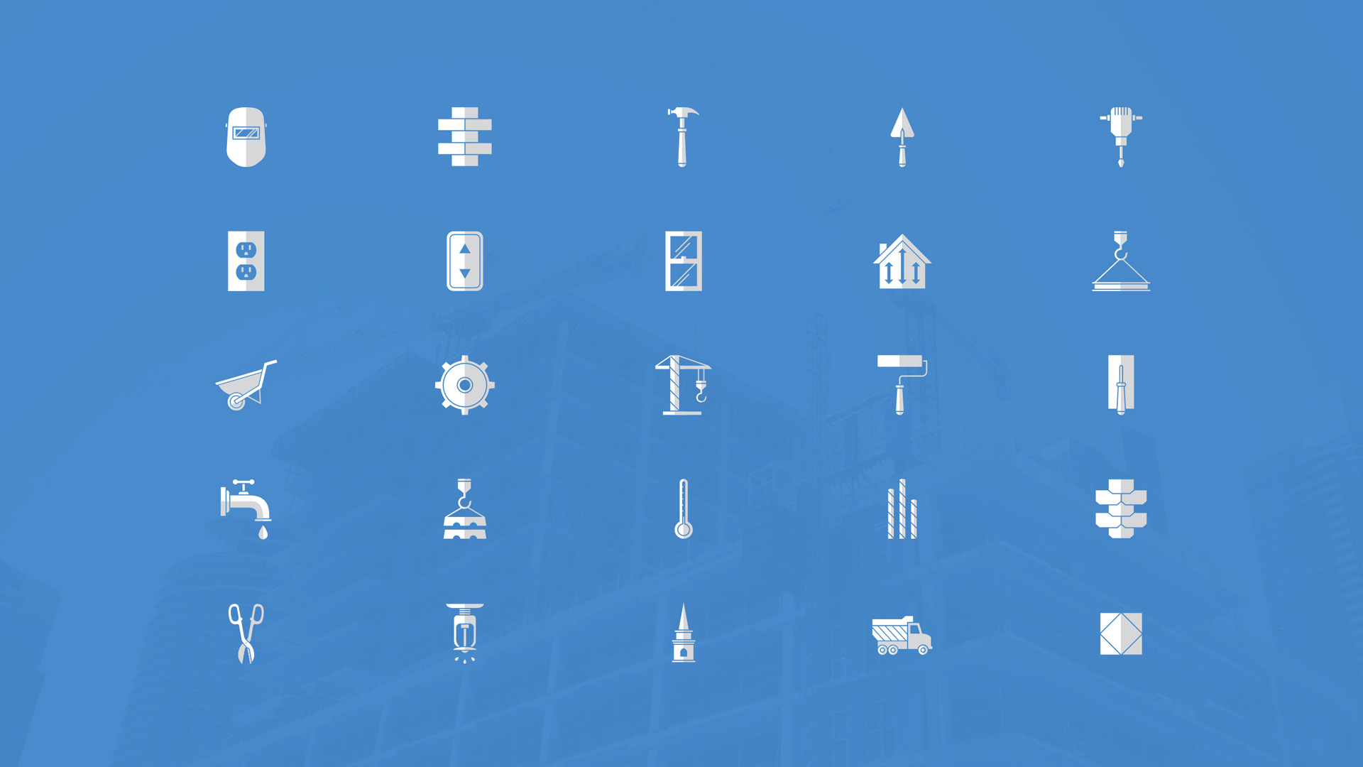 white icons on blue background